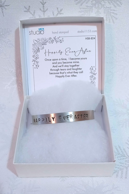 Hand Stamped Aluminum Cuff Bracelet - Happily Ever After