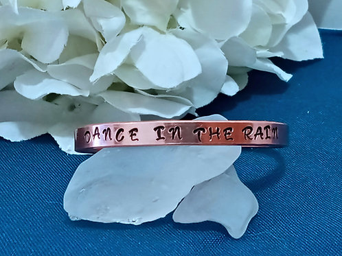 Hand Stamped Copper Cuff Bracelet - Dance in the Rain