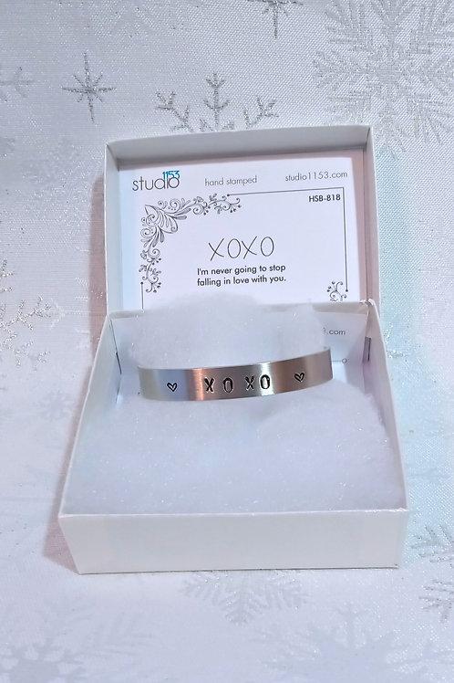Hand Stamped Aluminum Cuff Bracelet - XOXO