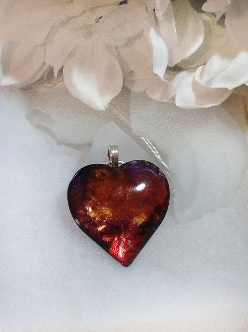 Hand Painted Glass Jewelry Pendant -Torch Fire 138