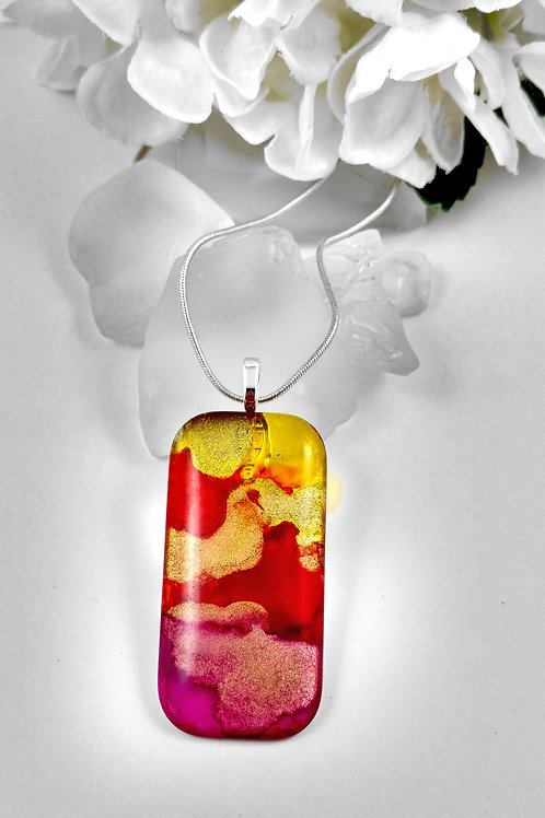 Sunshine in Your Soul 96 - Hand Painted Glass Pendant and Necklace