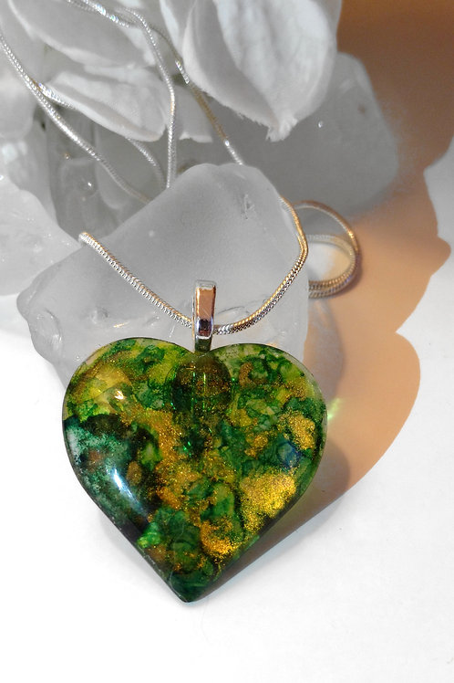 Emerald City 74 - Hand Painted Glass Heart Pendant and Necklace