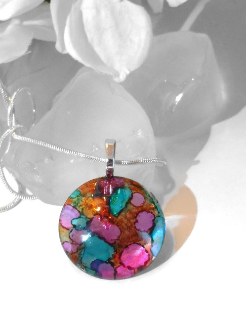 Psychedelic Bubbles 84 - Hand Painted Glass Jewelry Pendant and Necklace