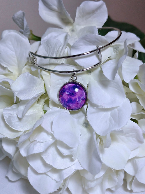 Light and Love B019 - Hand painted glass cabochon bracelet