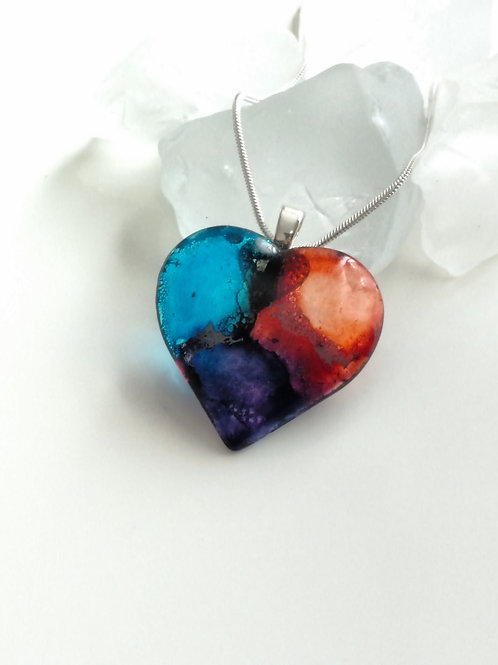From Dusk Till Dawn 48 - Hand Painted Glass Heart Pendant and Necklace