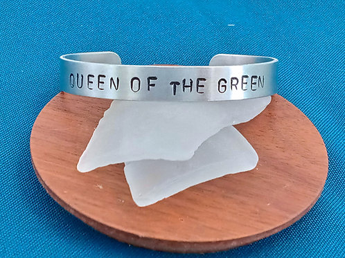 Hand Stamped Aluminum Cuff Bracelet - Queen of the Green