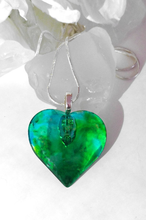 Spring is in the Air 79 - Hand Painted Glass Heart Shape Jewelry Pendant
