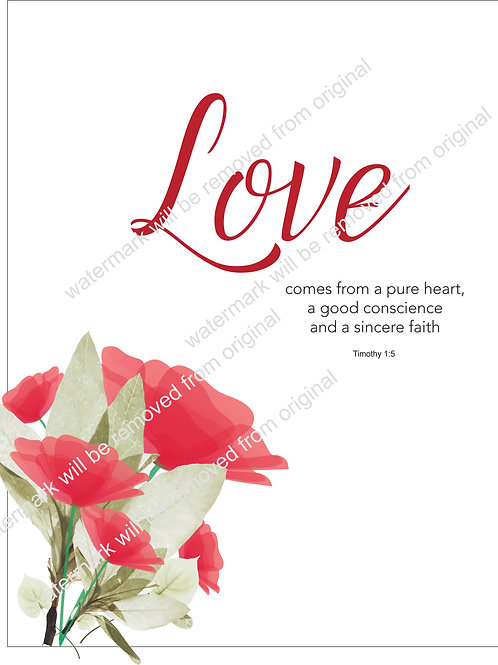 Inspirational Art, Quote - Love Comes From a Pure Heart