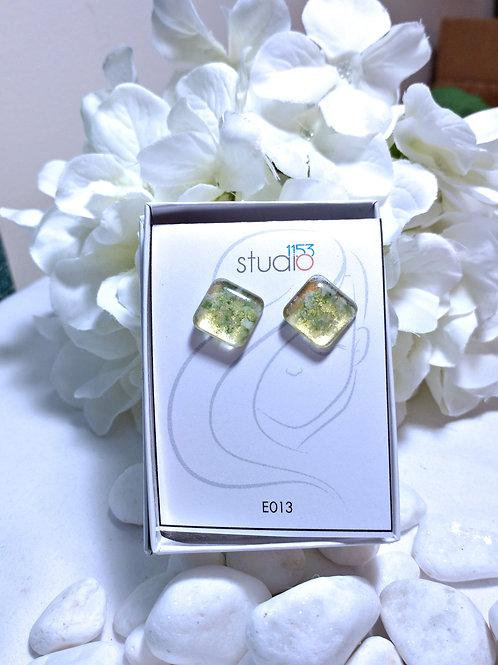 Earrings E013 - Hand painted glass cabochon earrings