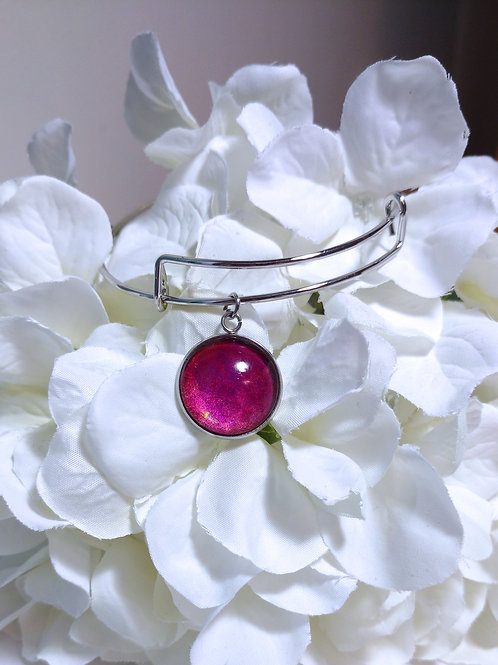 Joy B006 - Hand painted glass cabochon bracelet