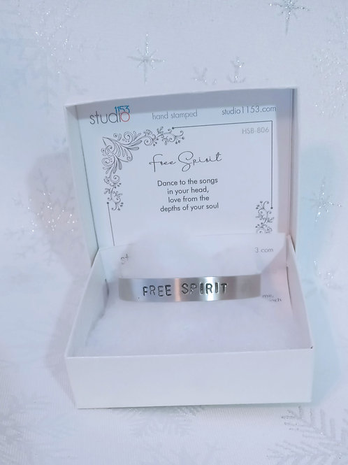 Hand Stamped Aluminum Cuff Bracelet - Free Spirit