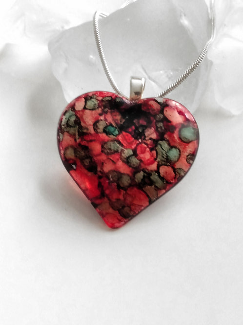 Red Light, Green Light 1-2-3 - Hand Painted Glass Heart Pendant and Necklace