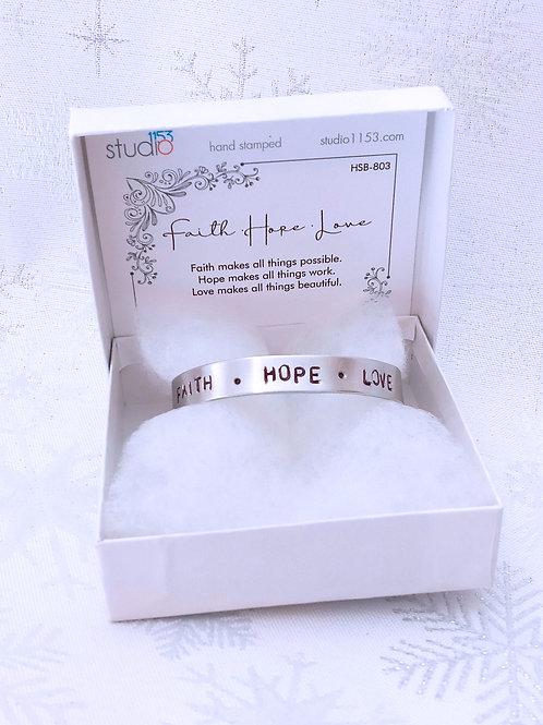 Hand Stamped Aluminum Cuff Bracelet - Faith Hope Love