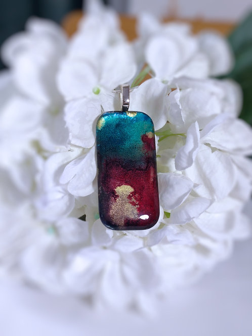 Mixed Metals 145 - Hand Painted Glass Jewelry Pendant and Necklace