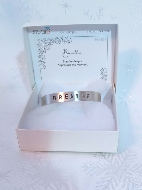 Hand Stamped Aluminum Cuff Bracelet - Breathe