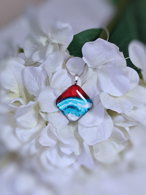 Sun Kissed Ocean 251 - Hand Painted Glass Jewelry Pendant and Necklace