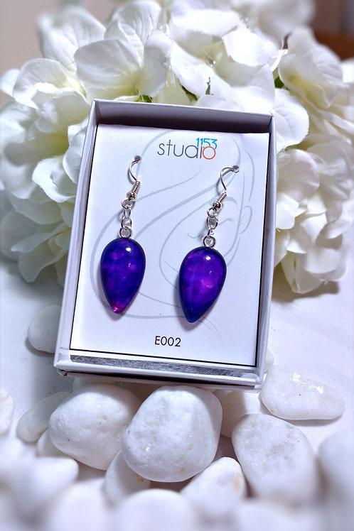 Earrings E002 - Hand painted glass cabochon earrings