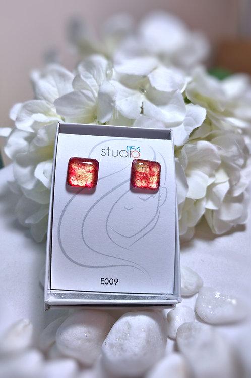 Earrings E009 - Hand painted glass cabochon earrings
