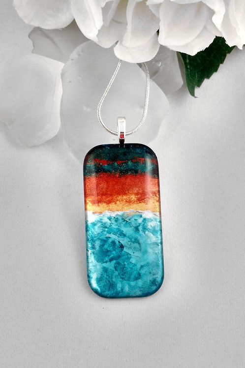 Sunset on the Surf 97 - Hand Painted Glass Jewelry Pendant and Necklace