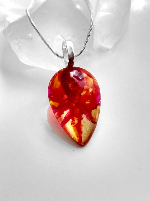 Glass Jewelry Pendant - Fireball in Motion 20