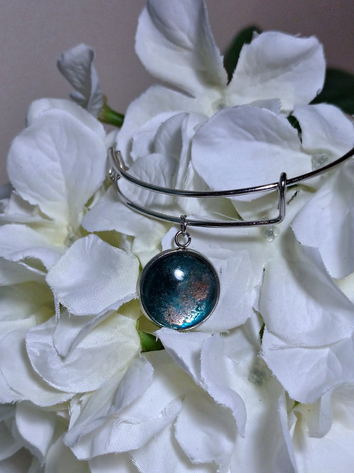 Beauty B017 - Hand painted glass cabochon bracelet