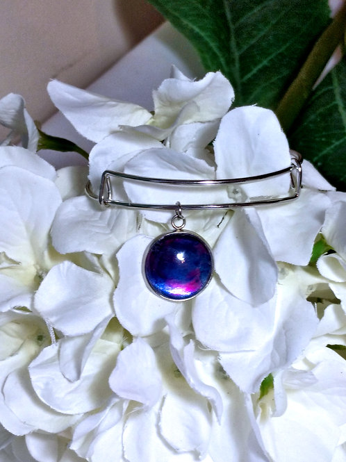 Rainbow B012 - Hand painted glass cabochon bracelet