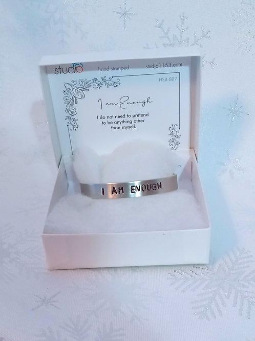 Hand Stamped Aluminum Cuff Bracelet - I am Enough