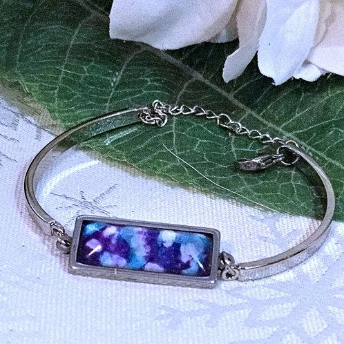 Hope B074 - Hand painted glass cabochon bracelet