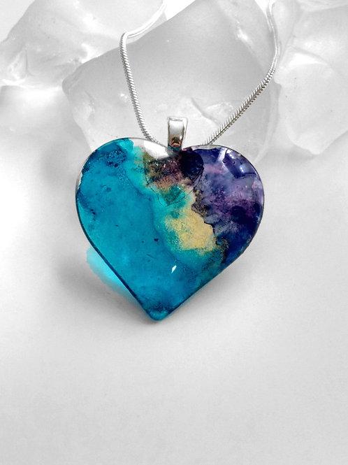 Glass Heart Jewelry Pendant -Deep Ocean of Secrets 46