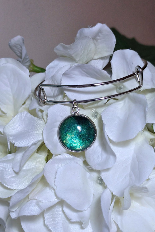 Thankful B014 - Hand painted glass cabochon bracelet