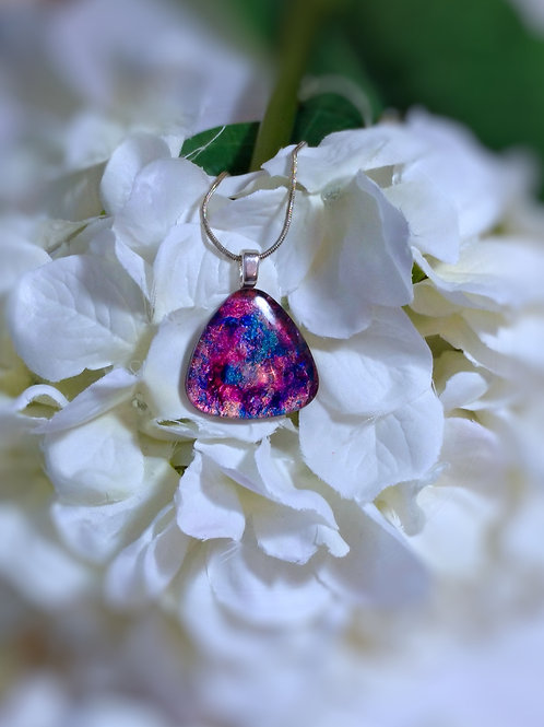 The Night Garden 243 - Hand Painted Glass Jewelry Pendant and Necklace