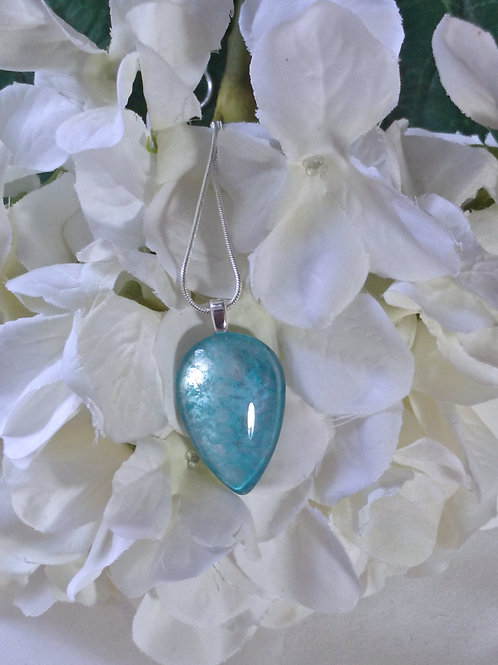 Silver Clouds 203 - Hand Painted Glass Jewelry Pendant and Necklace