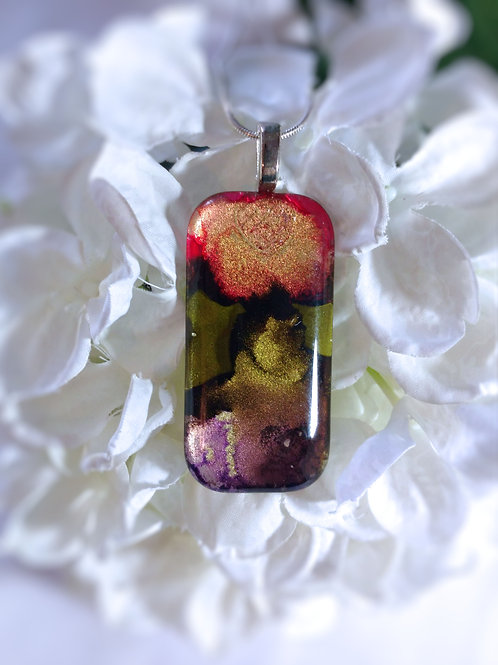 From the Mountaintop 160 - Hand Painted Glass Jewelry Pendant and Necklace