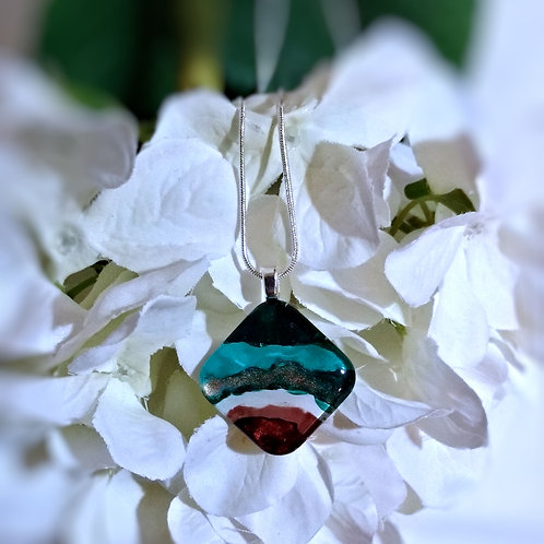 Earth and Sea 192 - Hand Painted Glass Jewelry Pendant and Necklace
