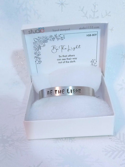 Hand Stamped Aluminum Cuff Bracelet - Be The Light