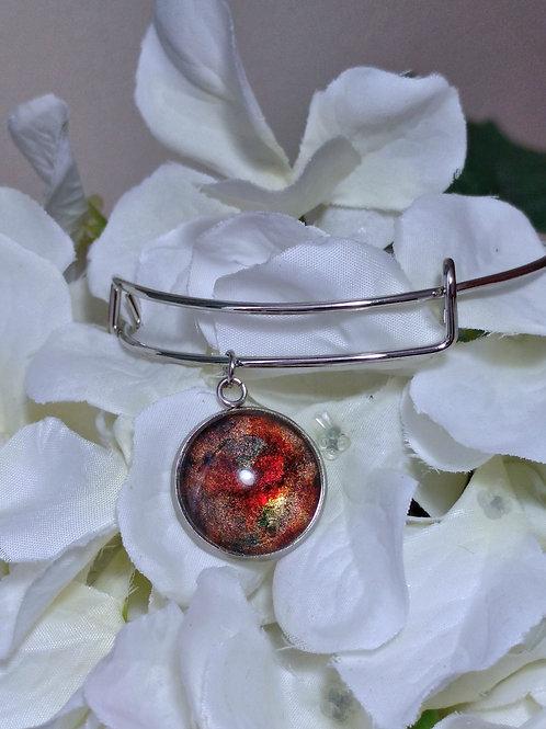 Beautiful B011 - Hand painted glass cabochon bracelet