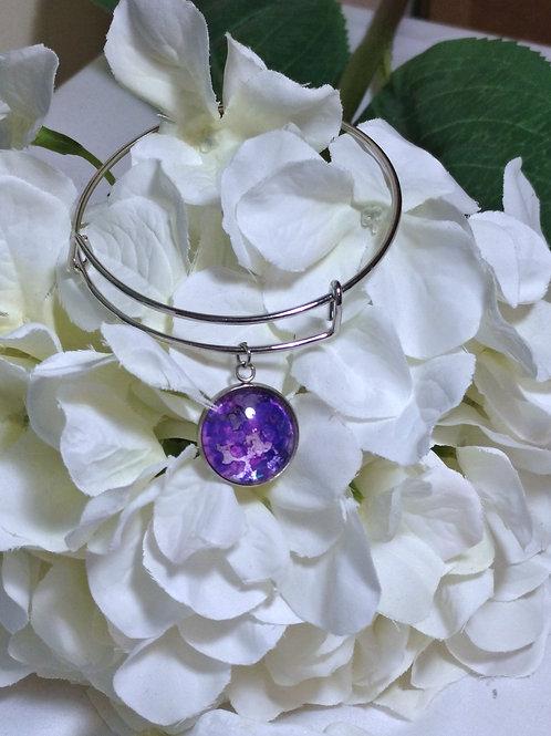 Hope B002 - Hand painted glass cabochon bracelet