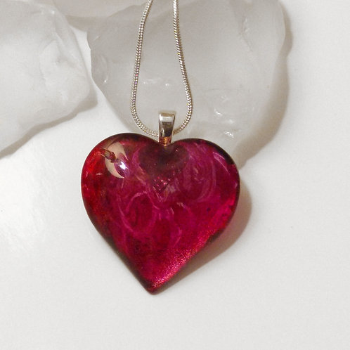 Best Friends 69 - Hand Painted Glass Heart Pendant and Necklace