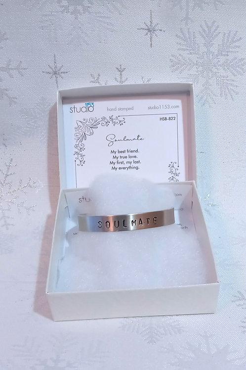 Hand Stamped Aluminum Cuff Bracelet - Soulmate