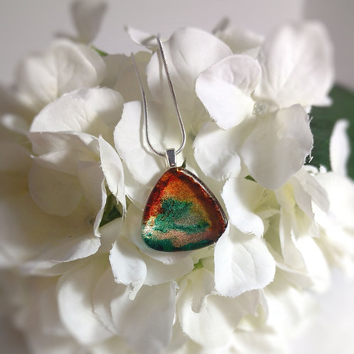 Transition 170 - Hand Painted Glass Jewelry Pendant and Necklace