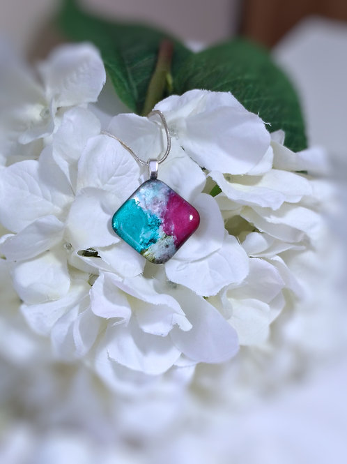 East Meets West 247 - Hand Painted Glass Jewelry Pendant and Necklace