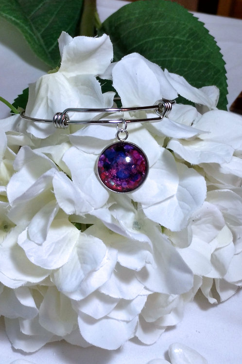 Flawless B022 - Hand painted glass cabochon bracelet