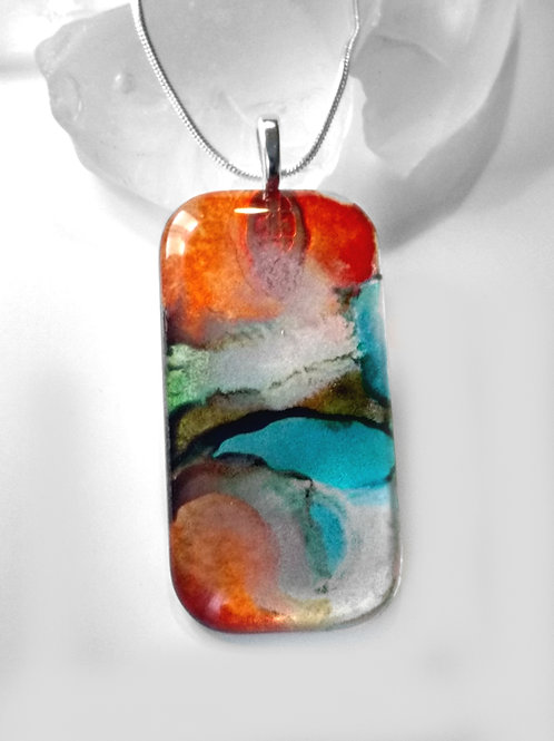 Sandy Cliffs 37 - Hand Painted Glass Jewelry Pendant and Necklace