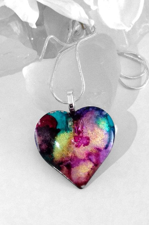 Hand Painted Glass Heart Shape Jewelry Pendant - Iris Gardens 78