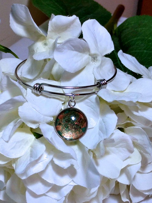 Open Minded B023 - Hand painted glass cabochon bracelet