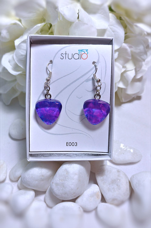 Earrings E003 - Hand painted glass cabochon earrings