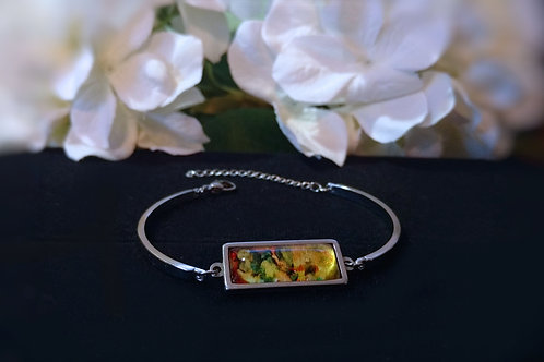 Become B073 - Hand painted glass cabochon bracelet