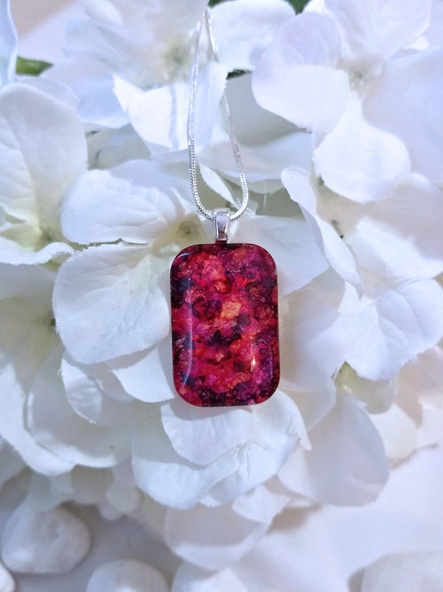 Granitic 206 - Hand Painted Glass Jewelry Pendant and Necklace