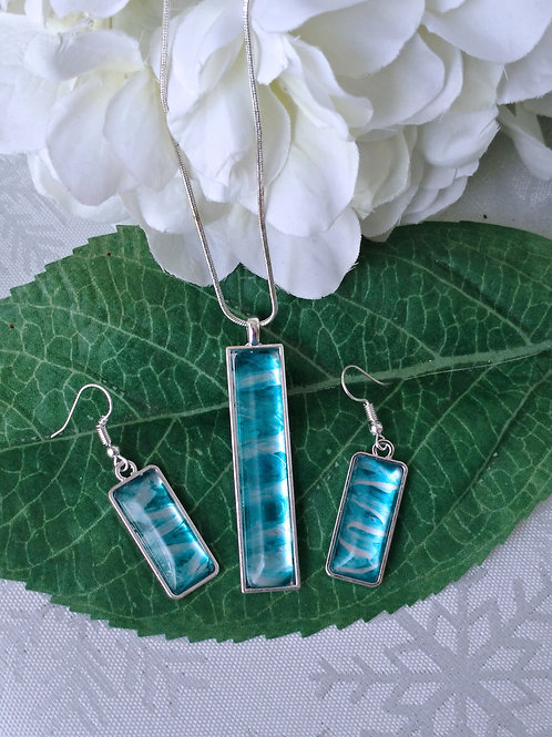 The Rivers Bend 281 - Hand Painted Glass Jewelry Pendant and Necklace