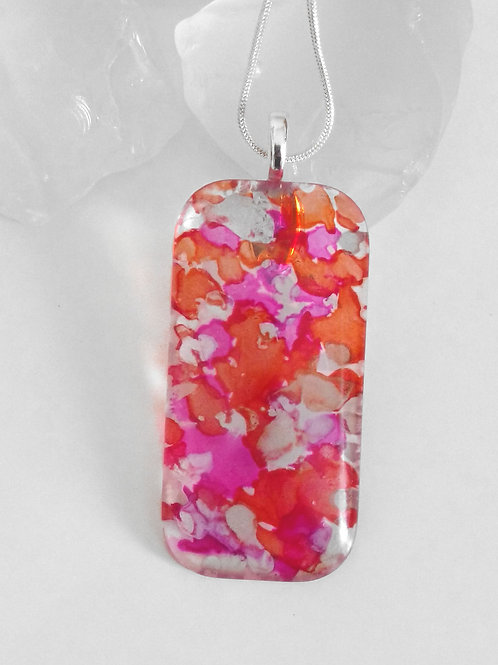 Berrylicious Orange Raspberry Trifle 66 - Hand Painted Glass Necklace